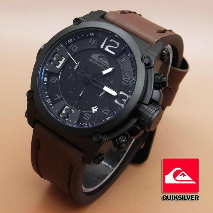 harga Quiksilver crono tali kulit coklat tua angka putih jam tangan pria Tokopedia.com