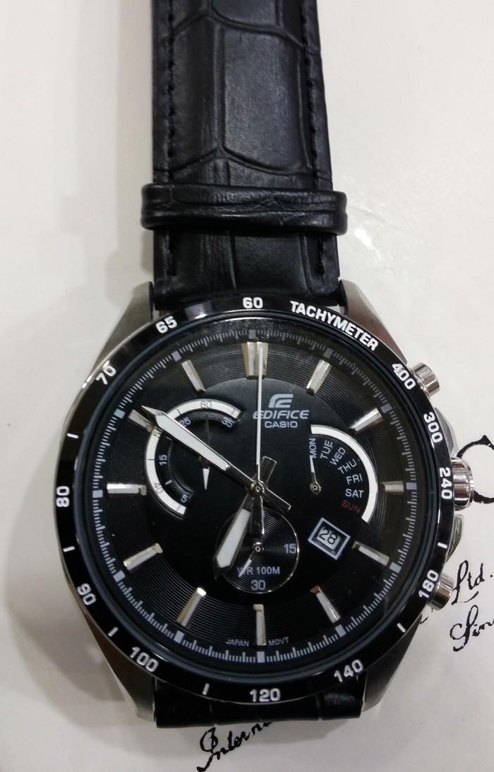 ... Jam Tangan Pria Casio EDIFICE EFR 510L 1AV BLACK SILVER COMBI Leather