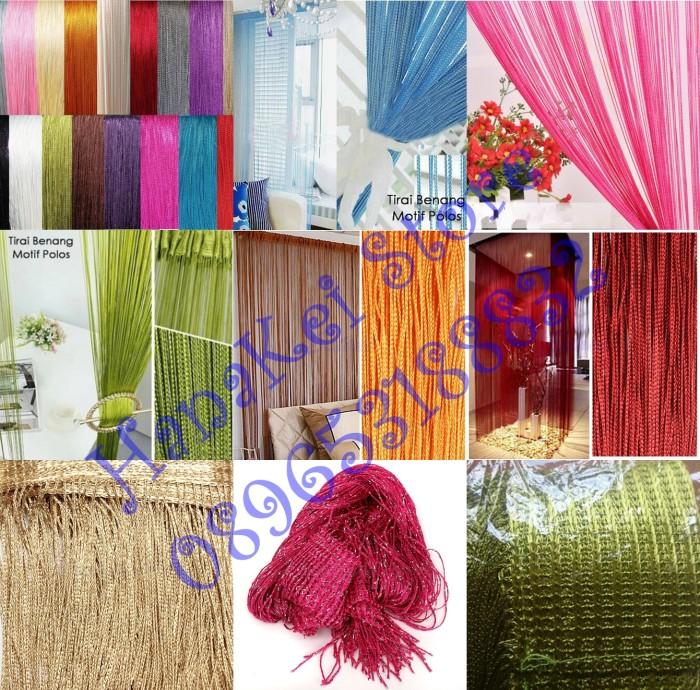 Tirai Benang / Gorden Motif Polos Benang Tebal Import