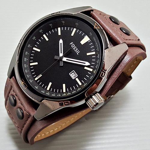 Jam Tangan Pria Fossil Cb5 Leather Full Brown DS 01