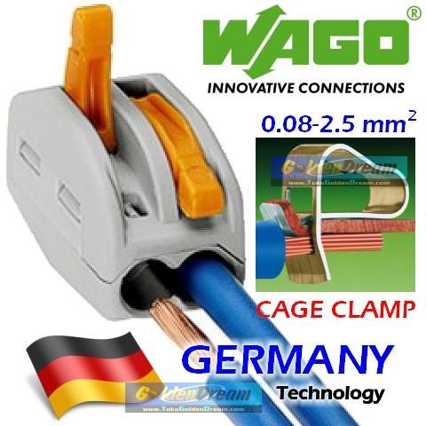 Foto Produk WAGO Connector 2 Wire 222-412 Compact Terminal Block Lever Cage Clamp dari Golden Dream