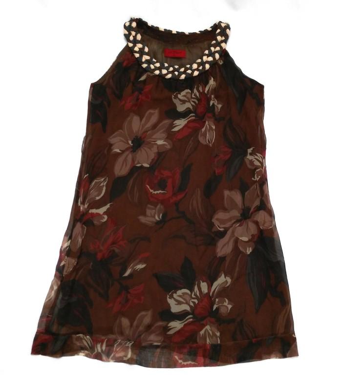 Sole Mio Floral Chiffon Braid Collar Top Tropical Beach Brown Summer