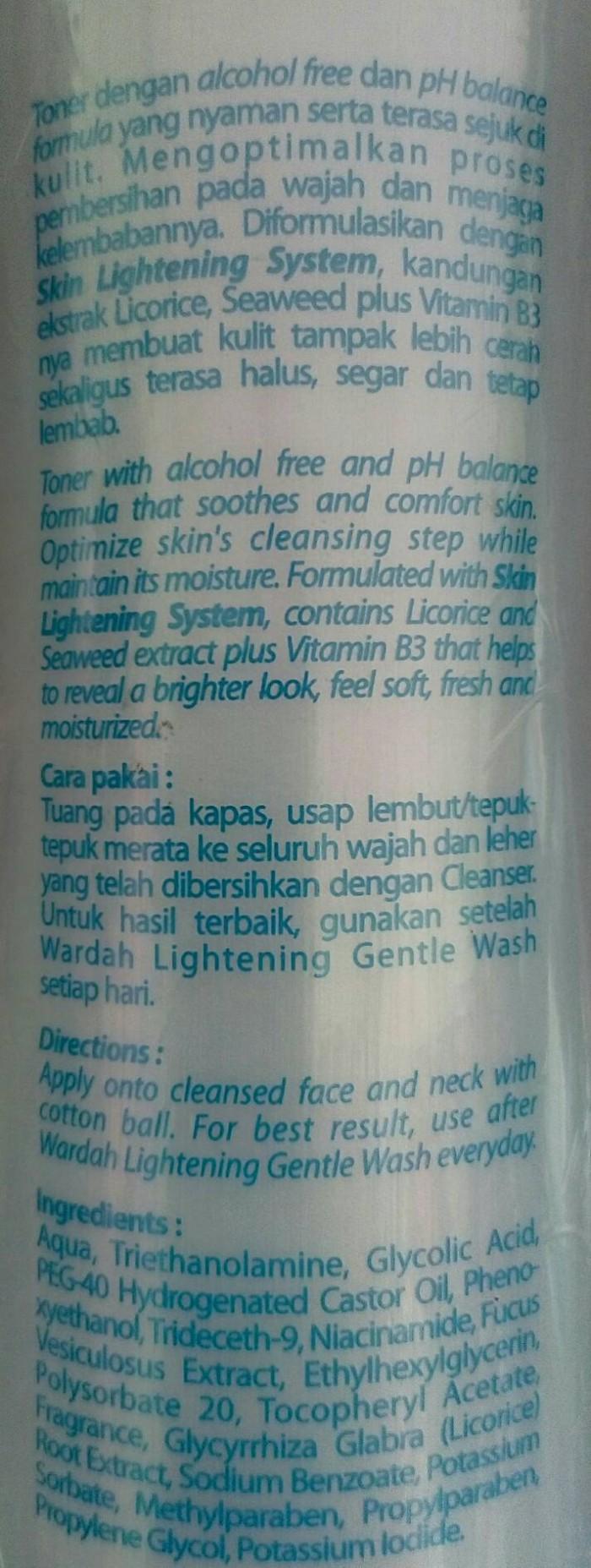 Harga Wardah Lightening Face Toner 150 Ml