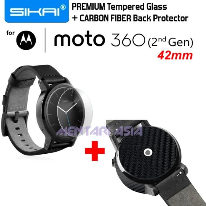harga Sikai tempered glass  + carbon fiber for moto 360 2nd gen 42mm Tokopedia.com