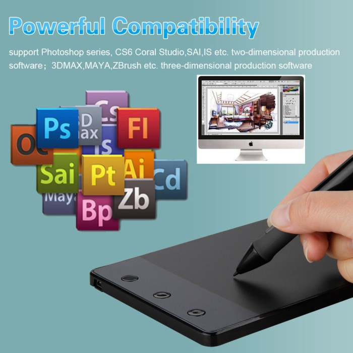 harga Usb Drawing Board Tablet Pen Pc Laptop Graphic Design + 3 Keys Express Tokopedia.com