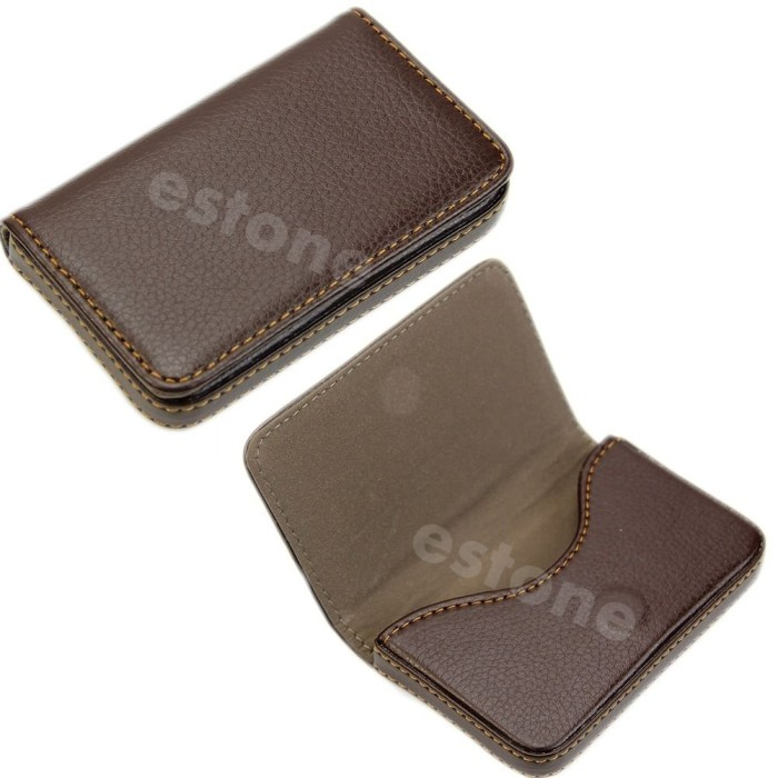 harga Brown leather business credit id card holder case wallet Tokopedia.com