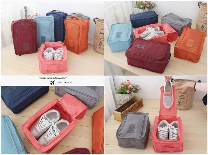 Monopoly shoes pouch travel / tas sendal sepatu / shoes bag organizer - Merah Muda