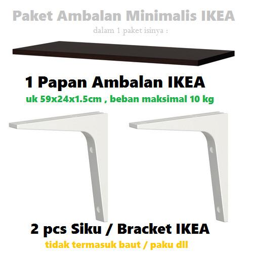 harga Ikea paket ambalan rak tempel dinding minimalis - termasuk 2 bracket Tokopedia.com