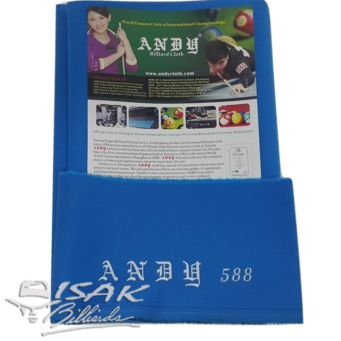 harga Kain laken 9-ft andy 588 - electric blue - billiard meja biliar cloth Tokopedia.com