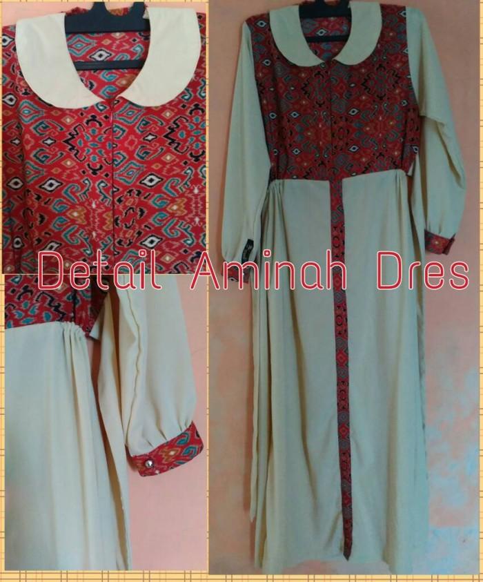 Jual Aminah Dress Gamis Kombinasi Wolfis Polos Batik Gerai Alma