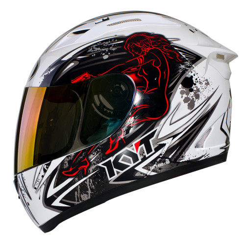 Helm kyt rc 7 seven rc7 full face black white red tomb rider .