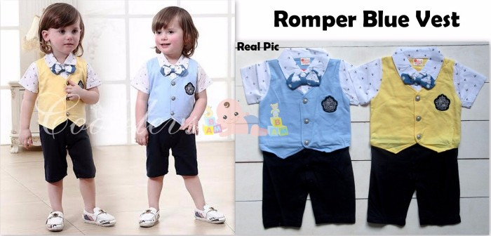 harga Romper pesta - tuxedo blue vest Tokopedia.com