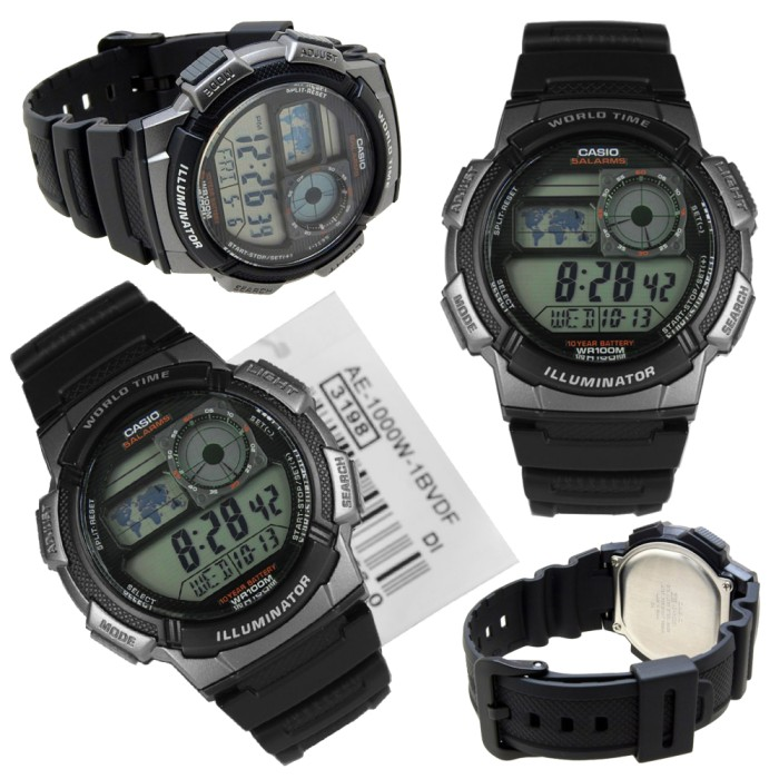 harga Casio ae-1000w-1bvdf original (black resin strap) jam casio murah Tokopedia.com