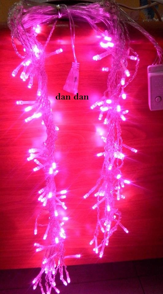 Lampu natal pink twinkle tirai 144 led