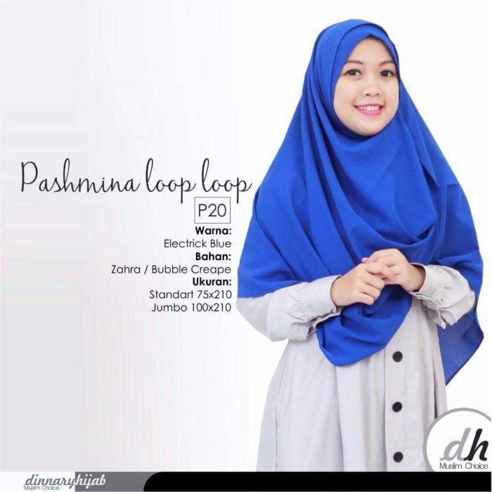 Jual Pashmina Jumbo Instant Syari Loop Loop Dinnary Hijab Electric Blue Jakarta Timur Suplayer Jilbab Tokopedia