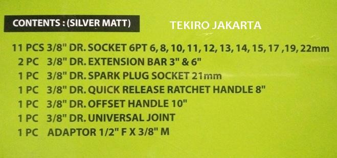 Tekiro Kunci Sock - Socket Set 18 pcs 3/8 Inch Box Plastik