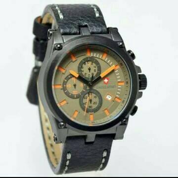 Jam Tangan Swiss Army SA-4074 Chorono Aktif Black Leather list Orange