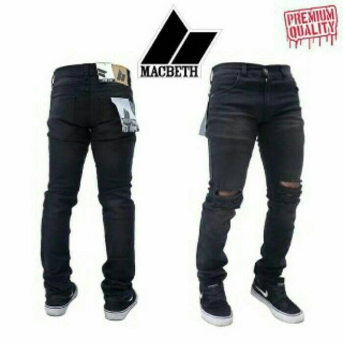 harga Jeans skinny stretch/slimfit premium macbeth black ripped Tokopedia.com