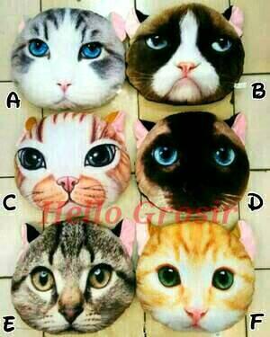 Bantal kucing boneka muka cat 3d doll pillow lucu murah grosir harga ... 044f987479