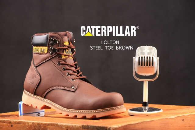 sepatu safety boots caterpillar holton dark brown