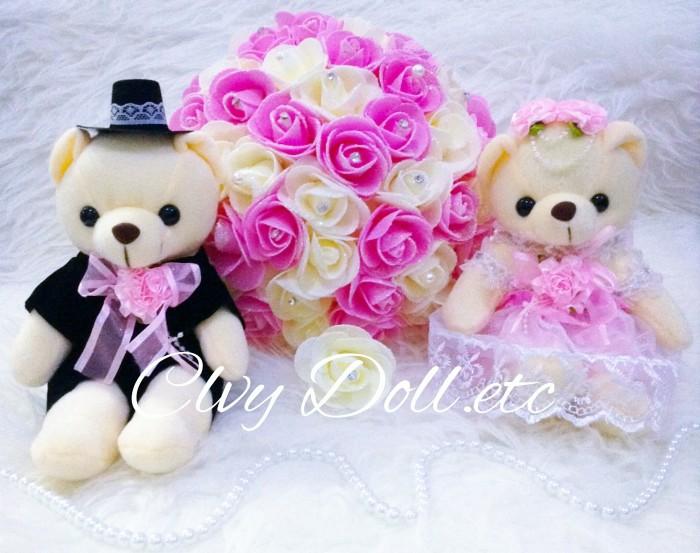 Jual Boneka Teddy Bear Wedding Couple - Pink Glamour Lucu 1c6cbcccc8