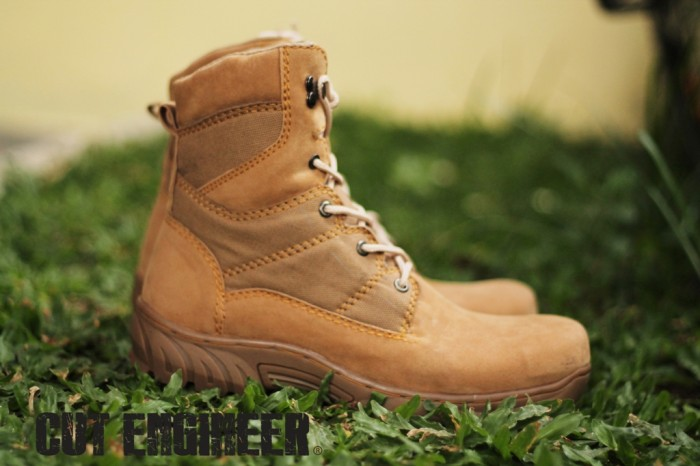 Cut Engineer Safety Boots Iron Combat  Suede Leather Brown