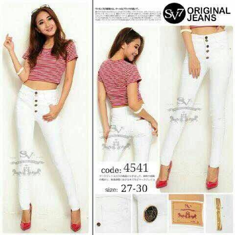 Jual Celana Jeans Wanita Kancing 5 Putih Gamko Tokopedia
