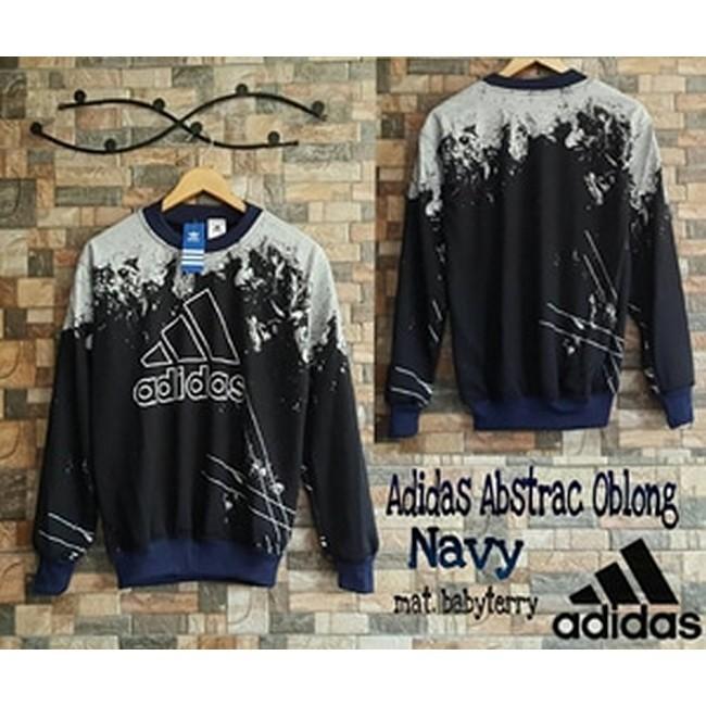 Jaket Sweater Oblong Pria Adidas Abstrak Navy JK2083