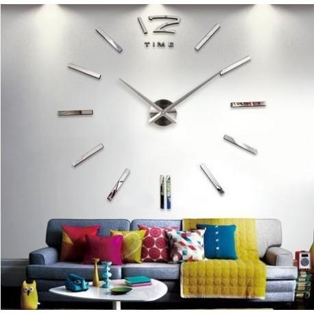 Jual Jam Dinding 3D   Giant Wall Clock - Silver - Tukura  8d9fda437d