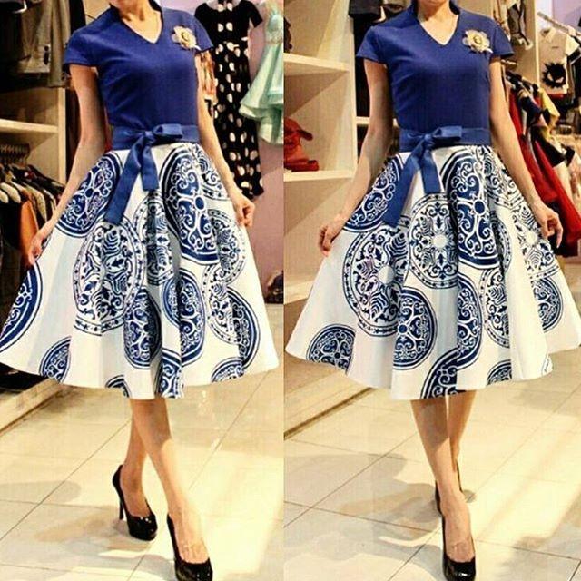 Jual Premium Dress Gaun Pesta Pendek Gaun Batik Dress Import Mewah