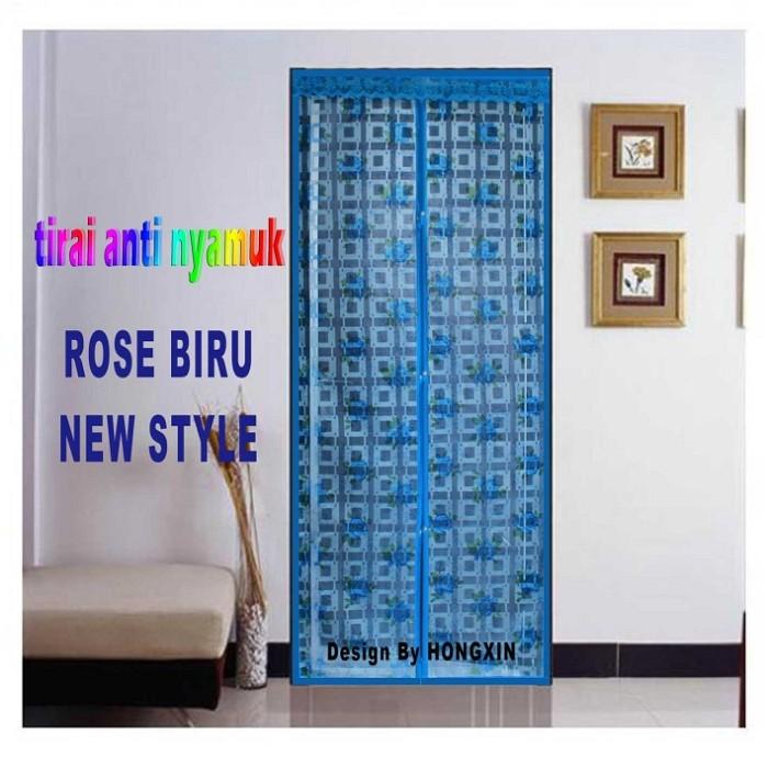 harga Tirai pintu magnet jojo press - rose biru newstyle Tokopedia.com