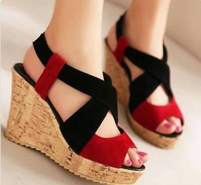 Wedges sepatu wanita gaul santai casual red merah hitam