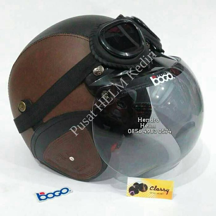 helm retro sintetis SNI coklat hitam+ kaca bogo im Q3UV