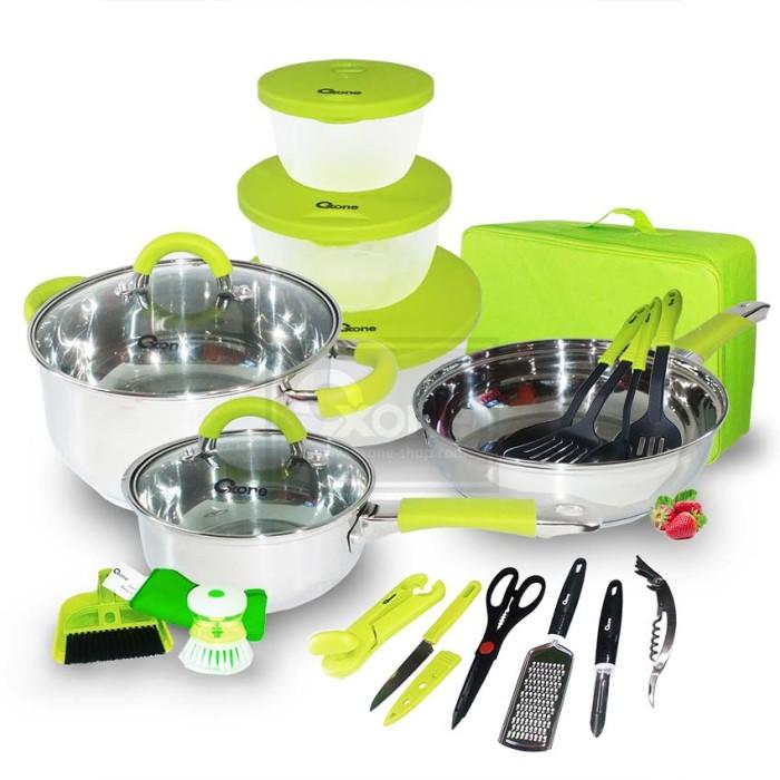 Ox-992 panci oxone 23pcs travel cookware set - hijau