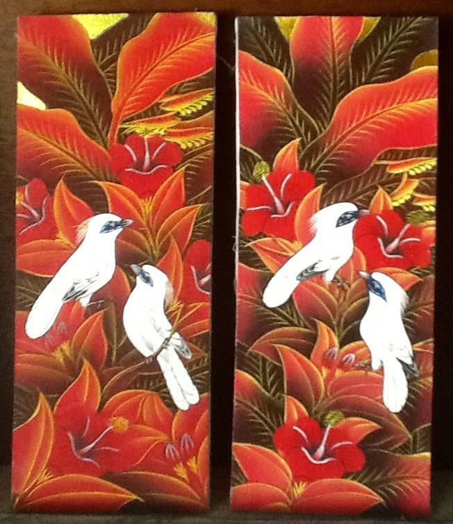 harga Lukisan sepasang burung jalak putih 20x50 (1 set) model a Tokopedia.com