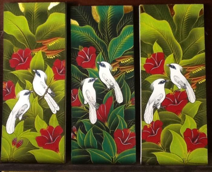 harga Lukisan 3 burung jalak putih 20x50 model e Tokopedia.com