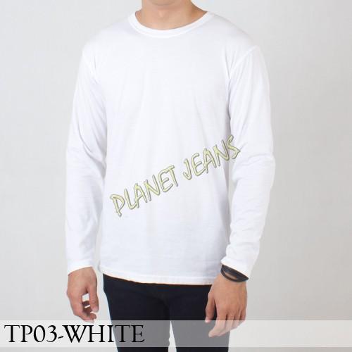 Jual Baju Kaos Polos Pria Polosan Cowok Tangan Lengan Panjang Warna Putih Jakarta Utara Planet Jeans Tokopedia