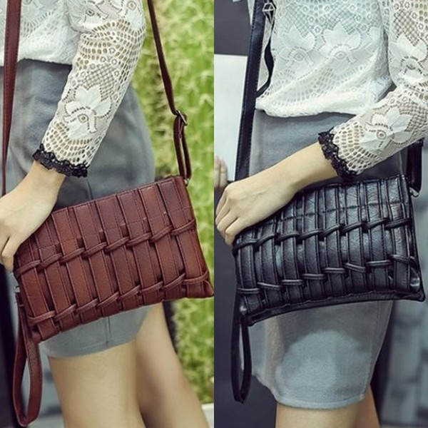Jual tas selempang korea kulit coklat hitam anyaman import - TAS ... 011c0d7231