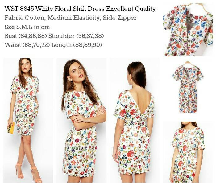 WST 8845 white floral shift dress
