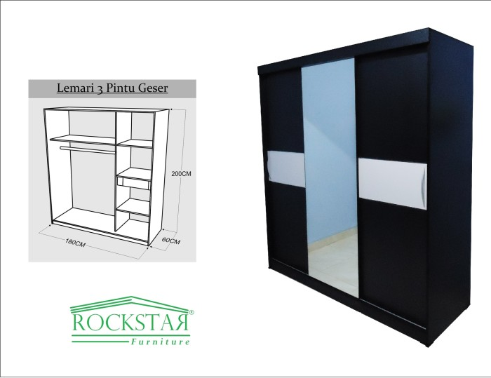 harga Lemari pakaian hpl+kaca sliding 3 pintu hitam strip putih Tokopedia.com