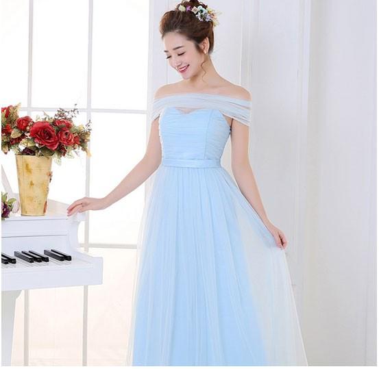 Jual Gaun Pesta Panjang Model Berlengan Model Simple Warna Biru Muda
