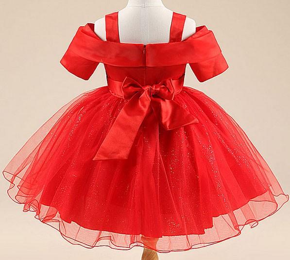 Jual Gaun Pesta Anak Warna Merah Model Berlengan Gaun Tutu Pendek