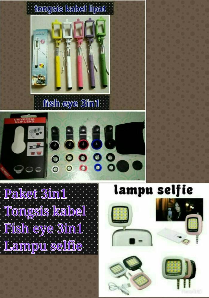 Paket tongsis kabel fish eye3in1 lampu selfie