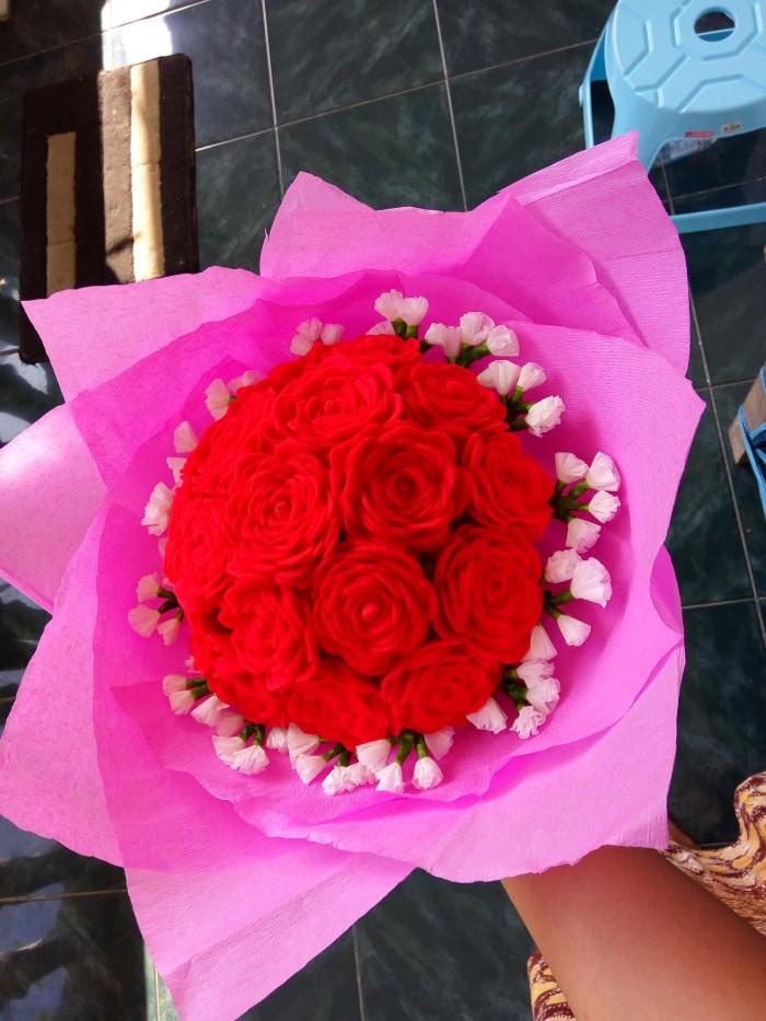 Jual Rangkaian Bunga Mawar Flanel Handmade Artifical Hadiahkado