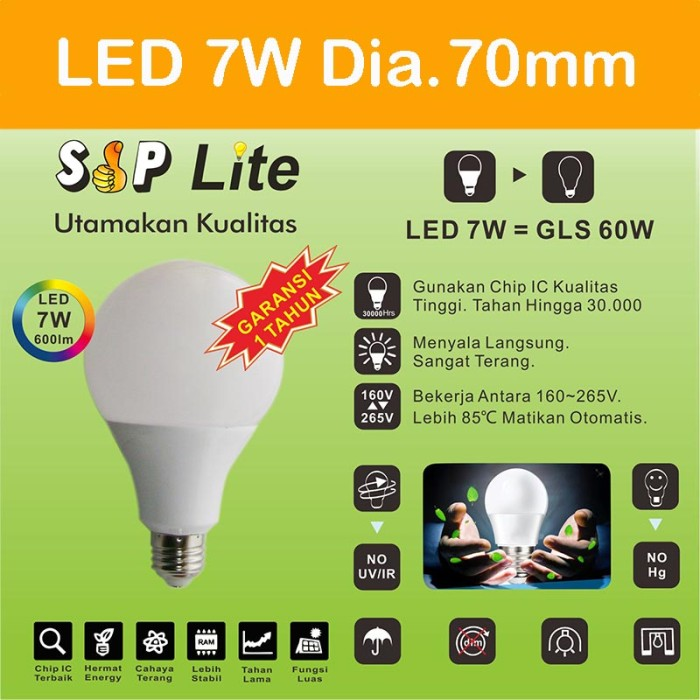 harga Eelic cahaya terang bohlam lampu led sip lite globe 70mm s-7 watt Tokopedia.com