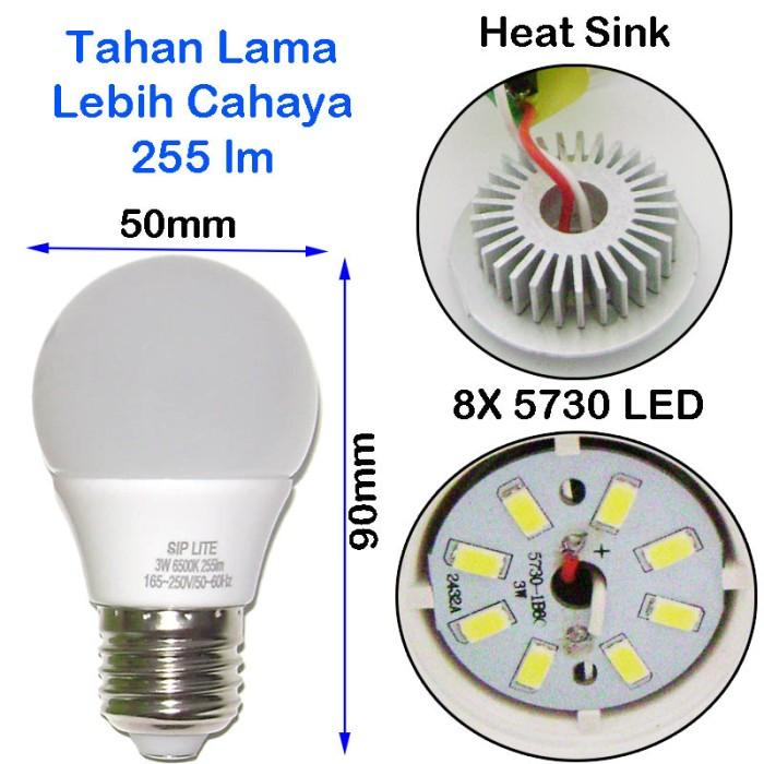 EELIC CAHAYA TERANG BOHLAM LAMPU LED SIP LITE Globe 50mm S-3 Watt