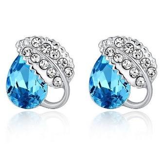 Acacia Leaves Crystal Earrings 925 Sterling Silver / Anting Wanita