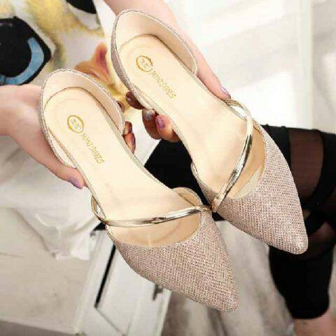 Flat gold clarisse shoes +