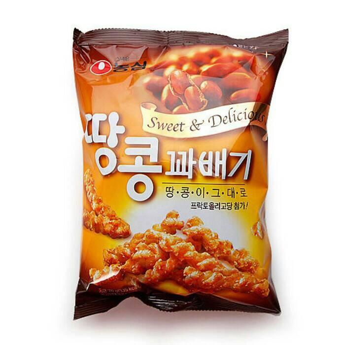 Korean nongshim peanut twist snack korea snek rasa kacang
