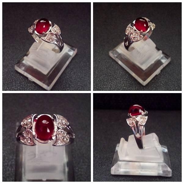 Cincin Batu Akik Cewek Murah Siem / Siam Merah Tua Top Luster (SC1)